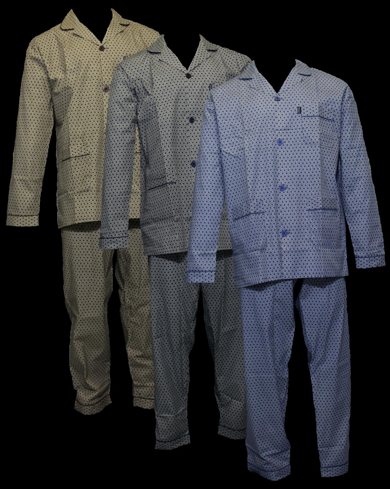 Klassieke herenpyjama met doorknoop jasje.